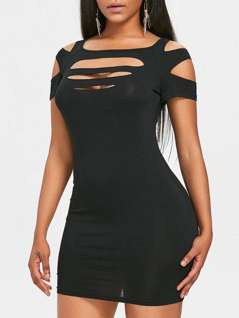 Mini Slashed Nightclub Dress - BLACK M