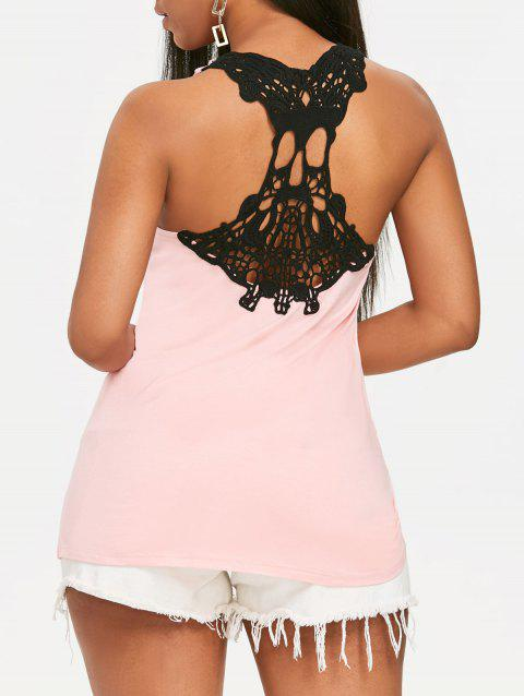 Skull Crochet Panel Swing Tank Top - LIGHT PINK L