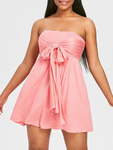 Tie High Waisted Cover Up Dress - LIGHT PINK L