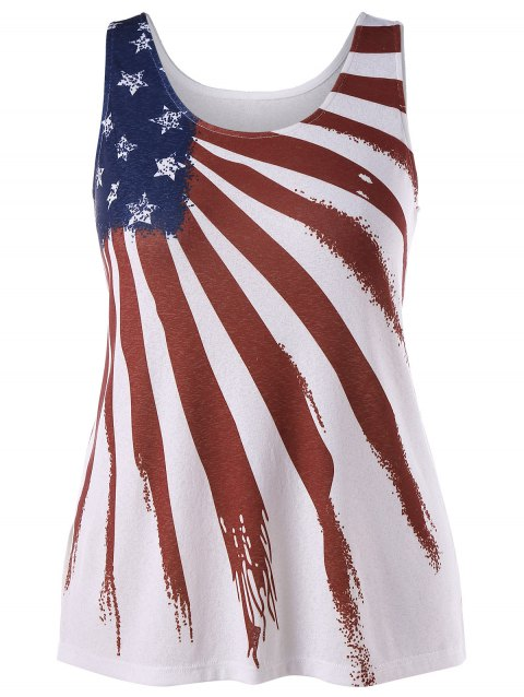 ba3b915b701 47% OFF  2019 Plus Size American Patriotic Tank Top In WHITE