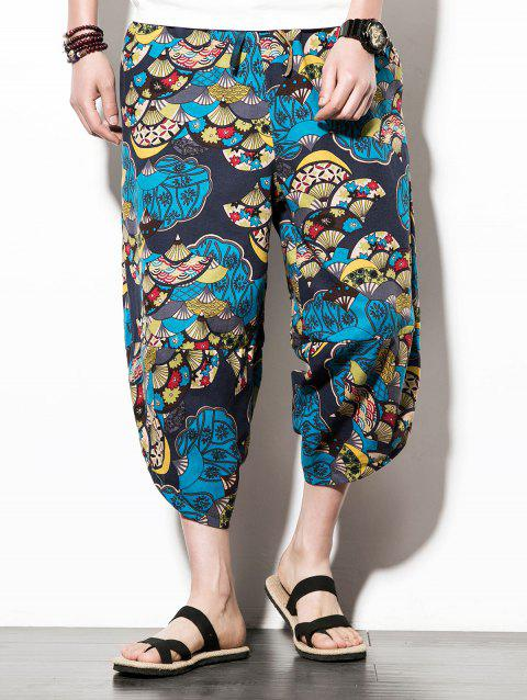 Loose Sector Flower Print Nine Minutes of Jogger Pants - multicolor XS