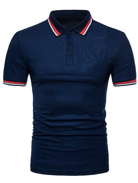 Color Block Collar Patch Turn Down Collar Tee - NAVY BLUE L
