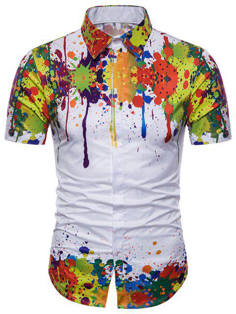 Watercolor Splash Print Curved Hem Hidden Button Shirt - multicolor S