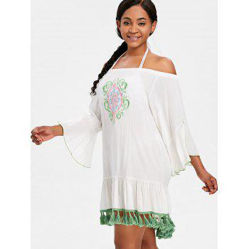 Tassel Embroidered Bell Sleeve Cover Up - WHITE ONE SIZE