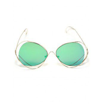 Hollow Out Metal Full Frame  Beach Travel Sunglasses - GREEN
