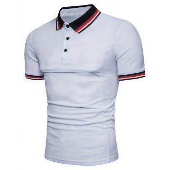 Color Block Collar Patch Polo Shirt - WHITE XL