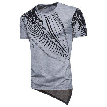 Short Sleeve Hip Hop Irregular Print T-shirt - LIGHT GRAY M