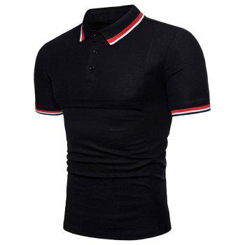 Color Block Collar Patch Polo Shirt - BLACK 2XL