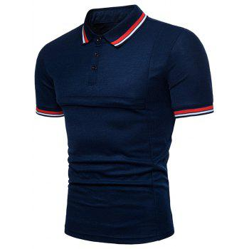 Color Block Collar Patch Polo Shirt - NAVY BLUE M