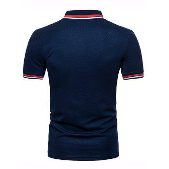 Color Block Collar Patch Polo Shirt - NAVY BLUE L