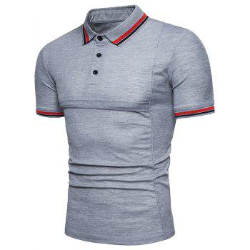 Color Block Collar Patch Polo Shirt - LIGHT GRAY M