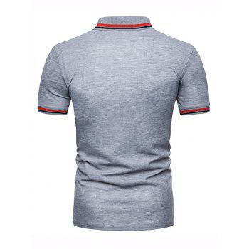 Color Block Collar Patch Polo Shirt - LIGHT GRAY 2XL