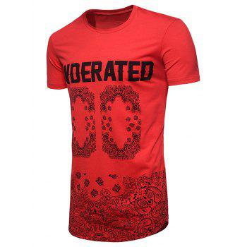 Crew Neck Long Graphic Print Hip-hop T-shirt - RED XL