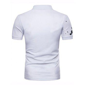 Casual Paint Print Polo Shirt - WHITE 2XL