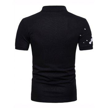 Casual Paint Print Polo Shirt - BLACK M