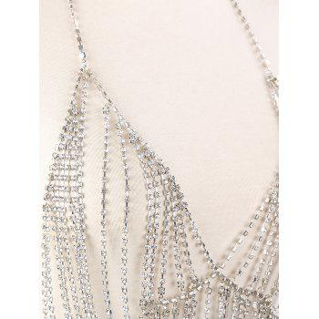 Sparkly Rhinestone Metal Fringed Bra Body Chain - SILVER