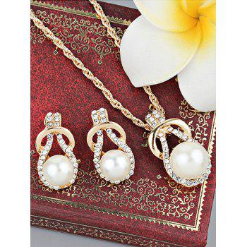 Faux Pearl Rhinestoned Teardrop Necklace and Earrings - GOLD