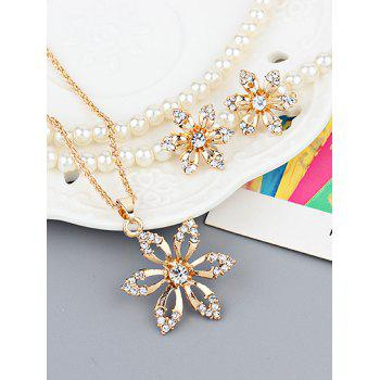 Rhinestone Metal Flower Necklace with Earrings - GOLD