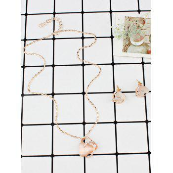 Faux Opal Rhinestoned Geometric Necklace and Earrings - GOLD