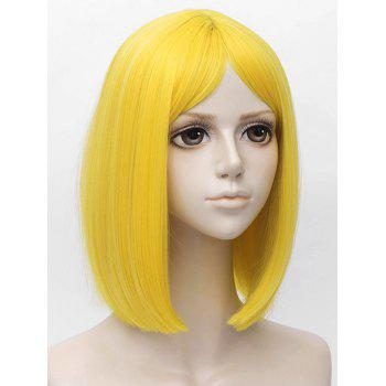 Medium Center Parting Straight Bob Anime Land of the Lustrous Cosplay Synthetic Wig - YELLOW