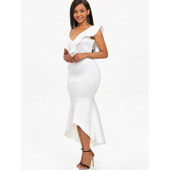 Plunge Ruffle Insert Mermaid Dress - WHITE XL