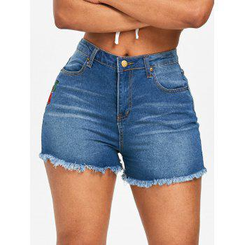 Rose Flower Embroidery Jean Shorts - DENIM BLUE M