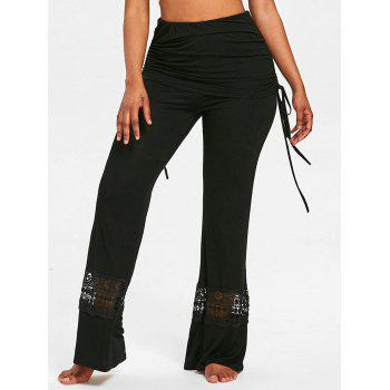Lace Panel Skirted Wide Leg Pants - BLACK S