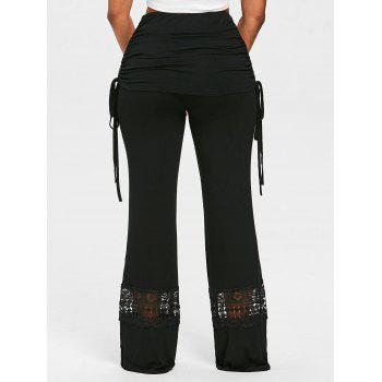 Lace Panel Skirted Wide Leg Pants - BLACK XL