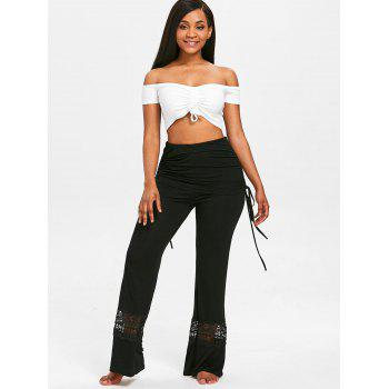 Lace Panel Skirted Wide Leg Pants - BLACK 2XL
