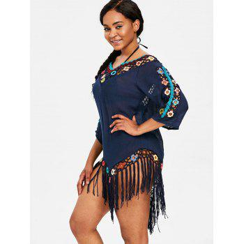Sheer Fringed Crochet Insert Cover Up Dress - DEEP BLUE ONE SIZE