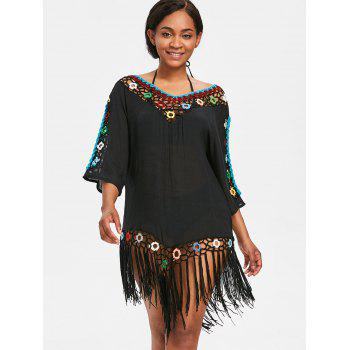 Sheer Fringed Crochet Insert Cover Up Dress - BLACK ONE SIZE