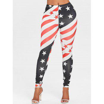 American Flag High Waist Leggings - COLORMIX L