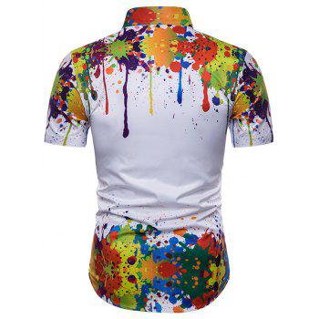 Watercolor Splash Print Curved Hem Hidden Button Shirt - multicolor XL