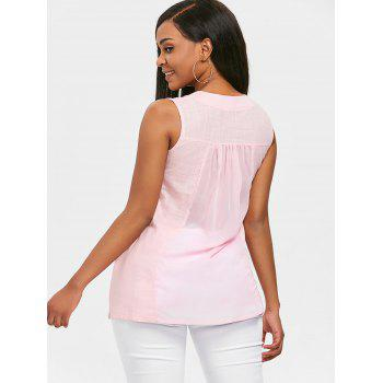 Sleeveless Pocket Blouse - LIGHT PINK 2XL