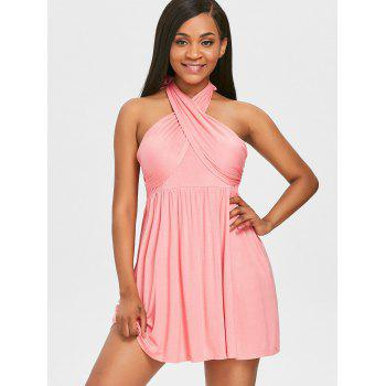 Tie High Waisted Cover Up Dress - LIGHT PINK M