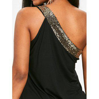 Sparkly One Shoulder Blouson Dress - BLACK M