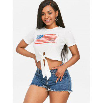 Front Knot American Flag Patriotic Tee - WHITE S