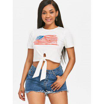 Front Knot American Flag Patriotic Tee - WHITE L
