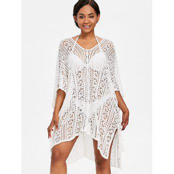 Kaftan Knit Tunic Cover Up - WHITE ONE SIZE