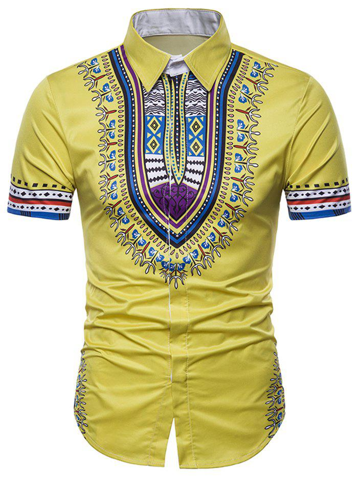 African Dashiki Short Sleeve Hidden Button Shirt