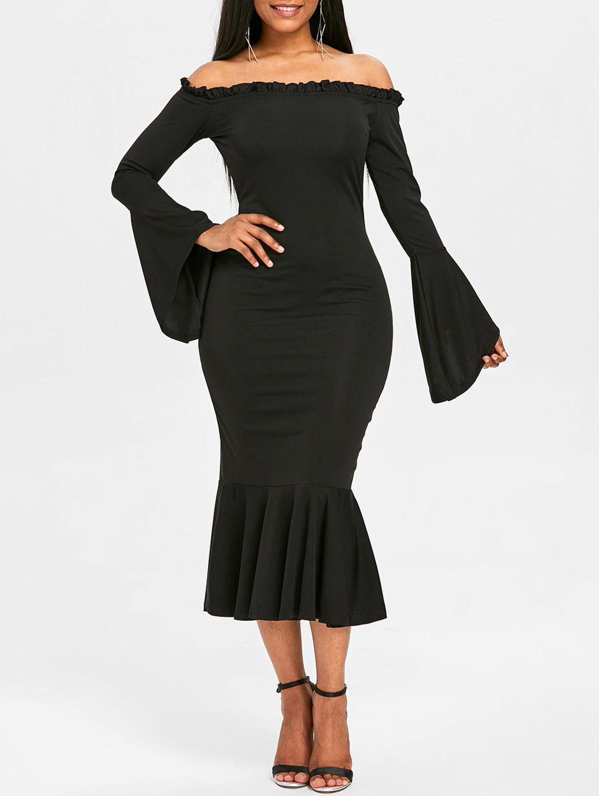 Bell Sleeve Off The Shoulder Mermaid Dress contrast fishnet shoulder bell sleeve swing dress