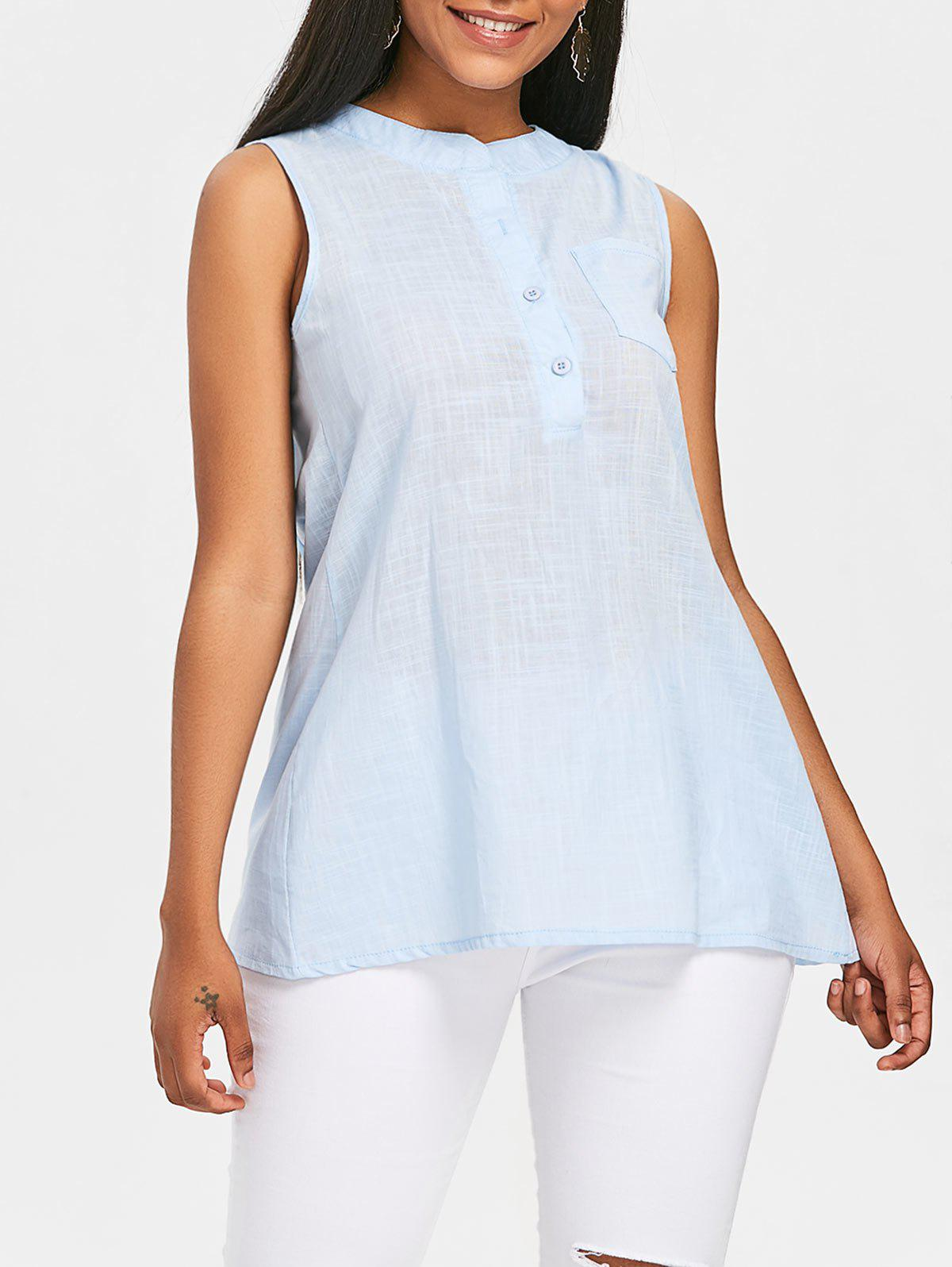 Sleeveless Pocket Blouse - LIGHT BLUE M