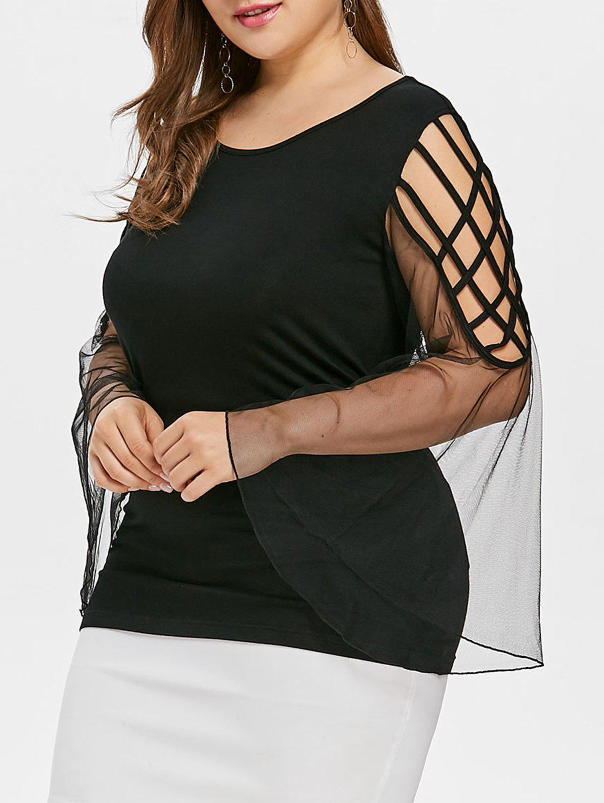 Plus Size Cutout Bell Sleeve Blouse
