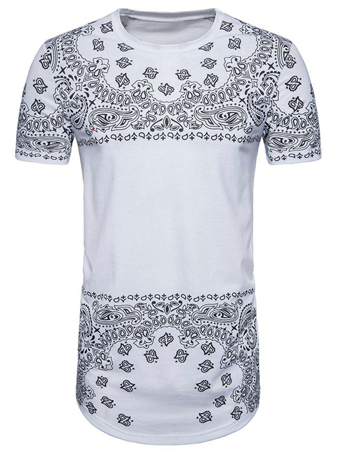Hip Hop Curved Hem Paisley Print Longline T-shirt fuser unit fixing unit fuser assembly for brother dcp 7020 7010 hl 2040 2070 intellifax 2820 2910 2920 mfc 7220 7420 7820 110v