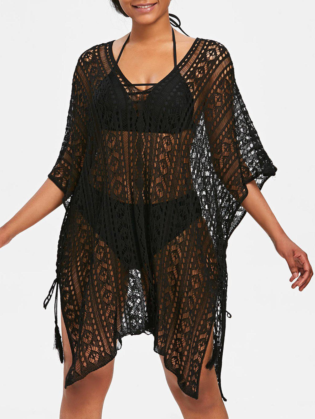 Kaftan Knit Tunic Cover Up - BLACK ONE SIZE