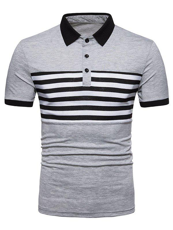 Stripe Print Contrast Color Short Sleeve Polo T-shirt contrast sleeve slogan print jacket