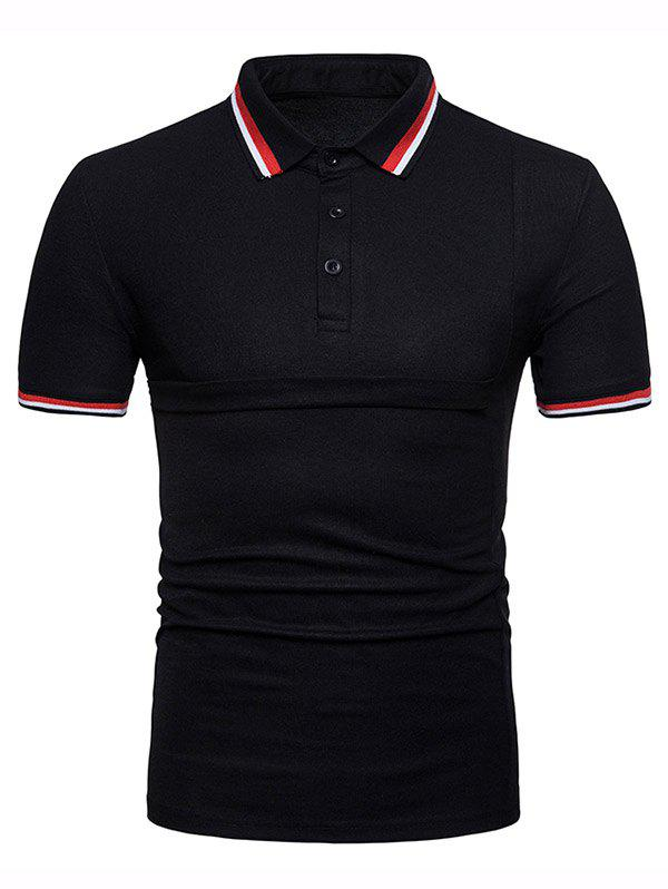 Color Block Collar Patch Polo Shirt - BLACK L