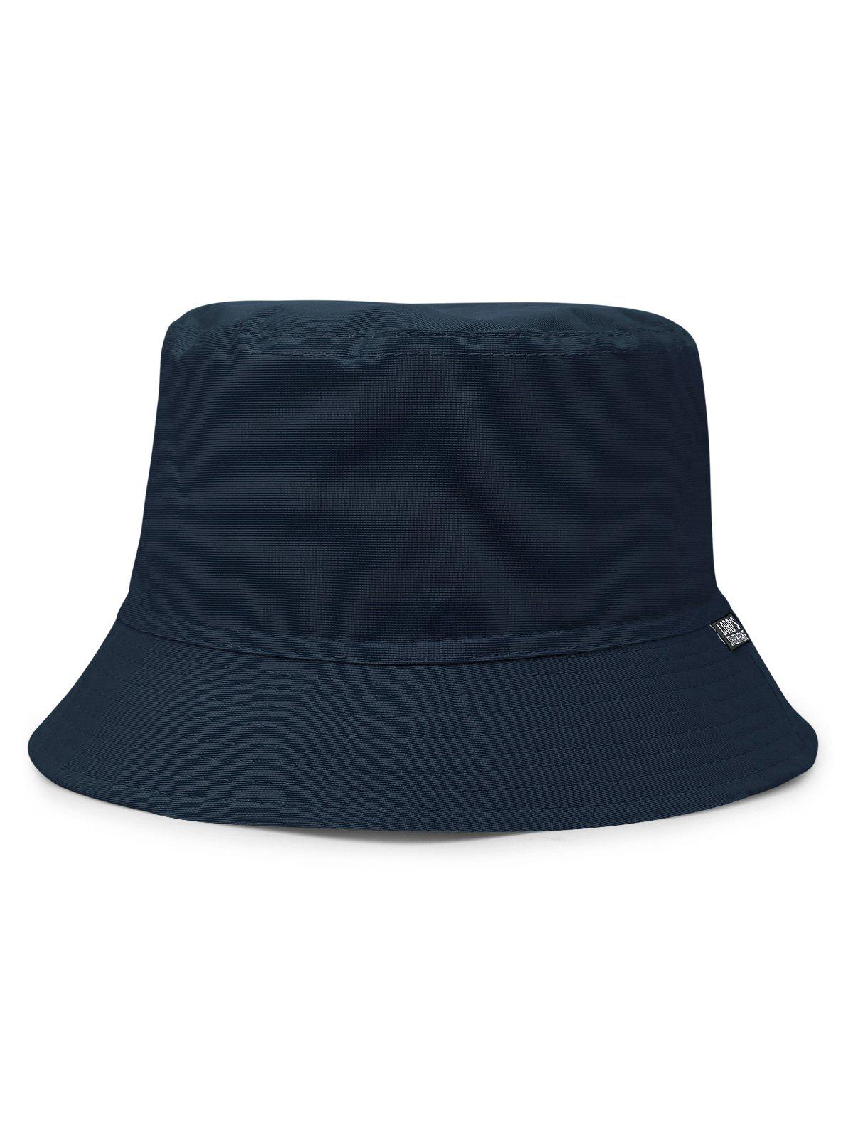 Outdoor Solid Color Flat Top Bucket Hat - DARK SLATE BLUE