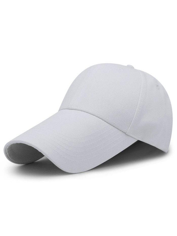 Solid Color Long Bill Adjustable Sun Hat - WHITE