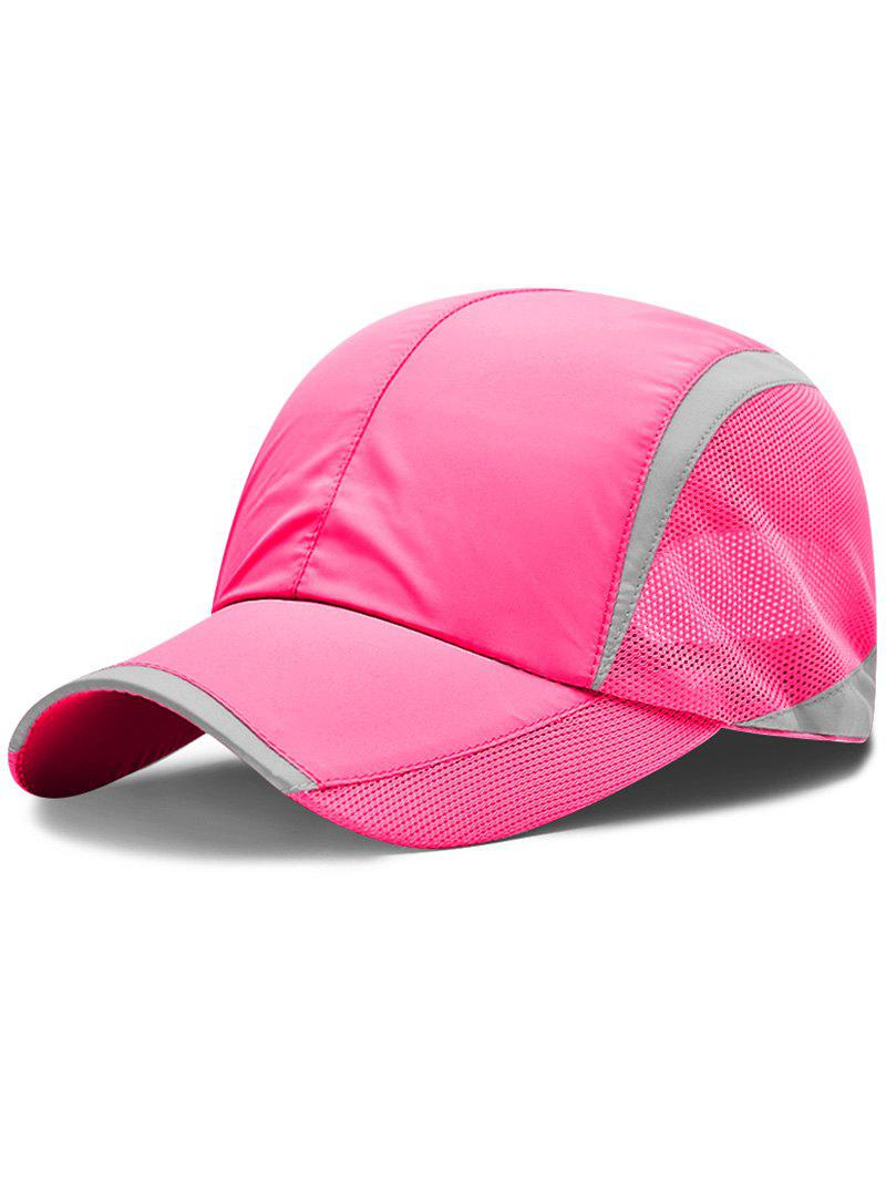 Solid Color Breathable Mesh Graphic Hat - ROSE RED